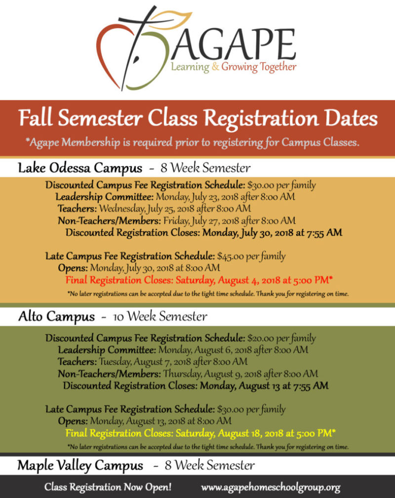 Agape Homeschool Group Fall 2018 Class Registration Schedule