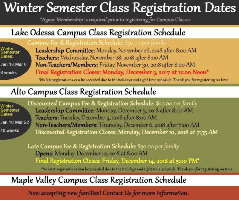 Agape Winter Semester Registration Fees and Schedules