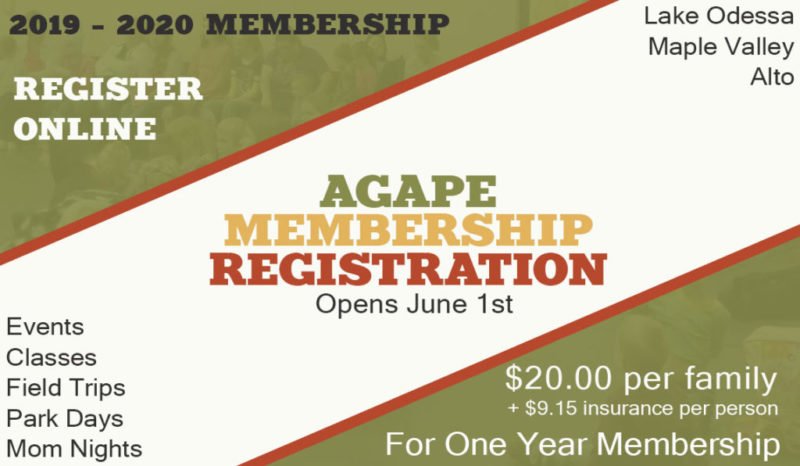 Agape Homeschool Membership Registration