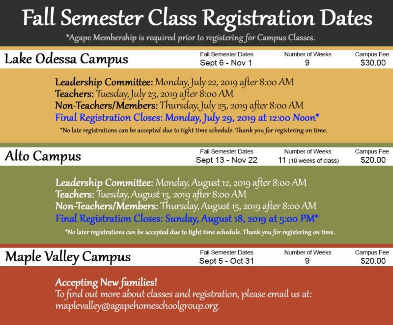 Agape Fall Class Registration Dates For Each Campus