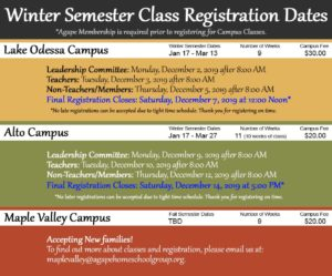 Agape Winter Semester 2020 Schedule