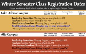 Agape homeschool group fall 2020 registration information